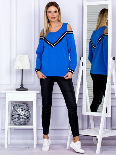 Bluza damska z ściągaczami niebieska                              zdj.                              4