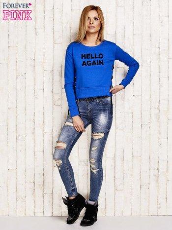 Bluza lace up niebieska z napisem                              zdj.                              4