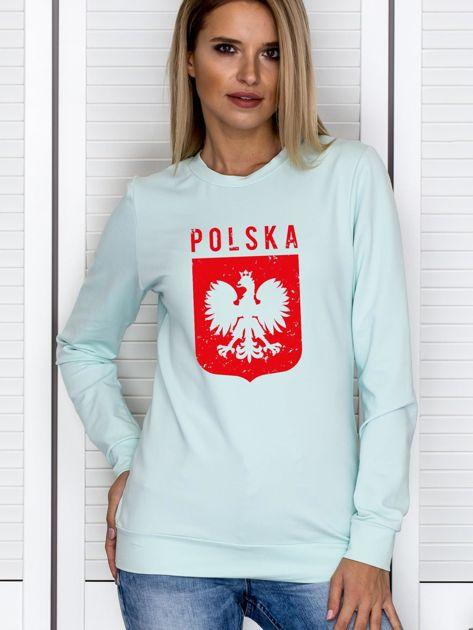 Bluza patriotyczna POLSKA z nadrukiem Orła Białego miętowa                              zdj.                              1