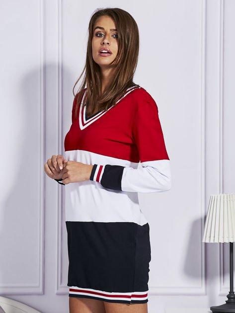 Bluza z kolorowymi modułami czerwona                                  zdj.                                  5