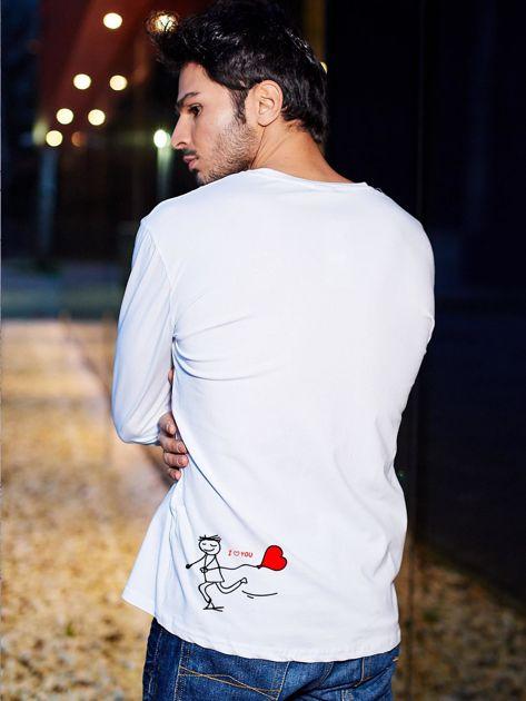 Bluzka biała męska z długim rękawem I LOVE HER dla par                                  zdj.                                  1