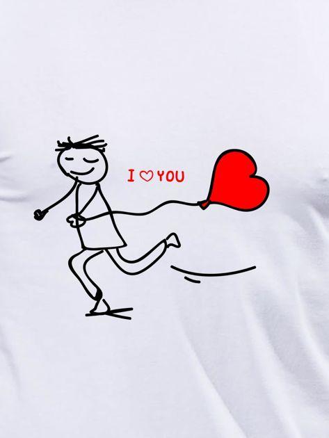 Bluzka biała męska z długim rękawem I LOVE HER dla par                                  zdj.                                  2