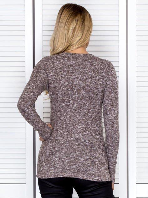 Bluzka damska melanżowa z długim rękawem brązowa                              zdj.                              2