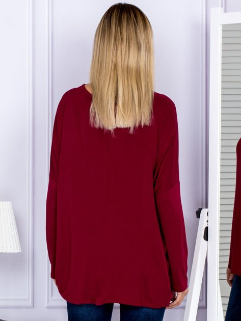Bluzka damska oversize bordowa                                  zdj.                                  2