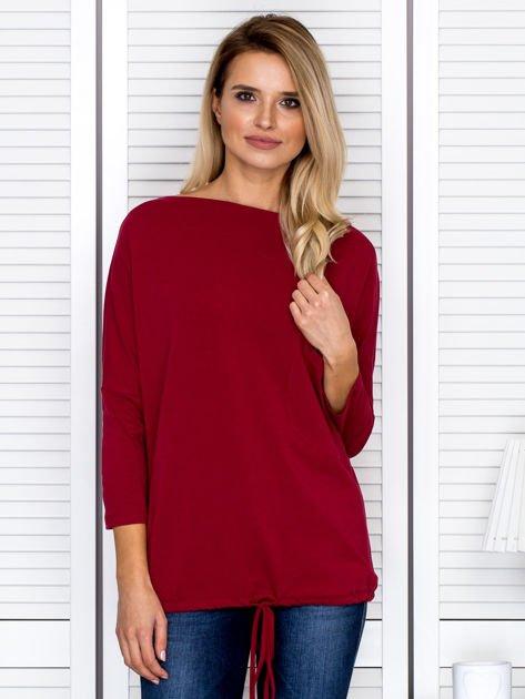 Bluzka damska oversize z kieszenią bordowa                                  zdj.                                  1