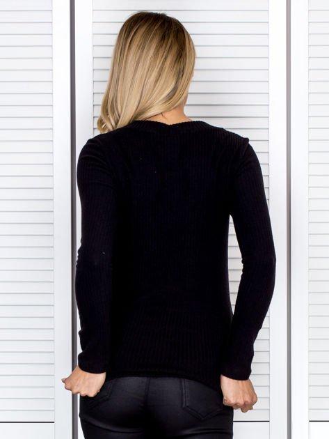 Bluzka damska prążkowana z długim rękawem czarna                              zdj.                              2