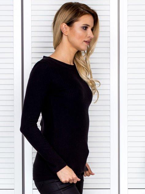 Bluzka damska prążkowana z długim rękawem czarna                              zdj.                              3