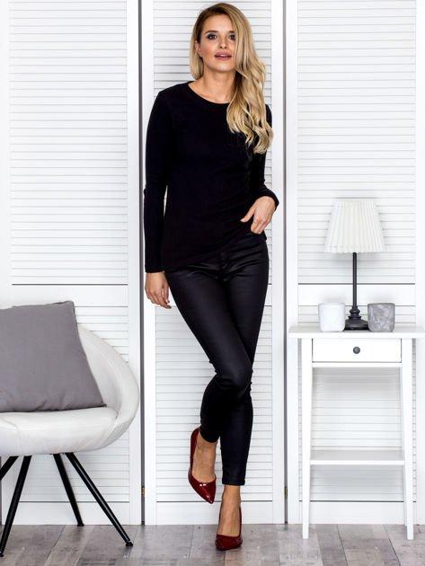 Bluzka damska prążkowana z długim rękawem czarna                              zdj.                              4