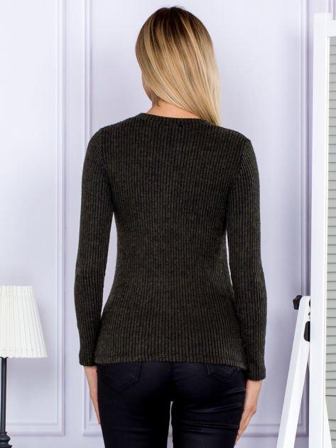 Bluzka damska prążkowana z długim rękawem khaki                              zdj.                              2