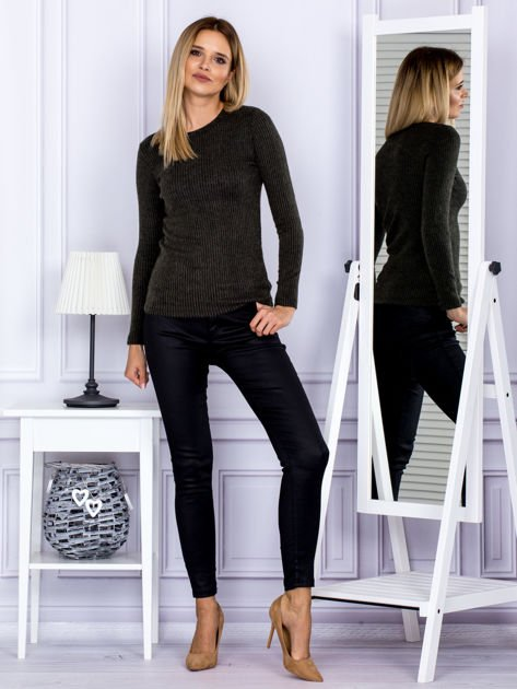 Bluzka damska prążkowana z długim rękawem khaki                              zdj.                              4