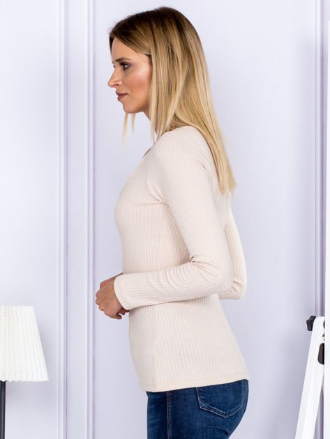 Bluzka damska w prążek z paseczkami przy dekolcie jasnobeżowa                              zdj.                              5