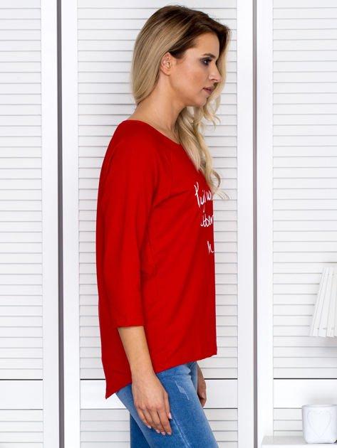 Bluzka damska z napisem czerwona                              zdj.                              3