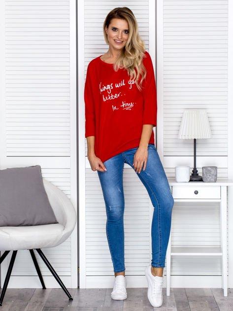 Bluzka damska z napisem czerwona                              zdj.                              4