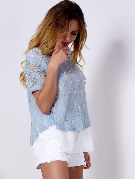 Bluzka koronkowa jasnoniebieska z perełkami                              zdj.                              1