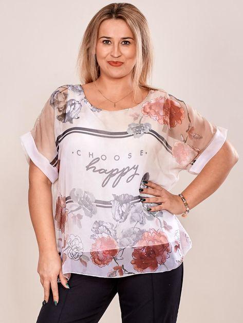 Bluzka koszulowa z napisem CHOOSE HAPPY beżowa PLUS SIZE                              zdj.                              1