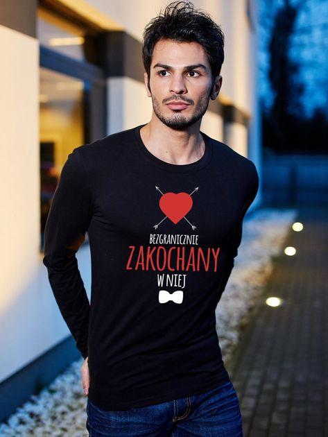 Bluzka męska czarna BEZGRANICZNIE ZAKOCHANY W NIEJ                                  zdj.                                  1