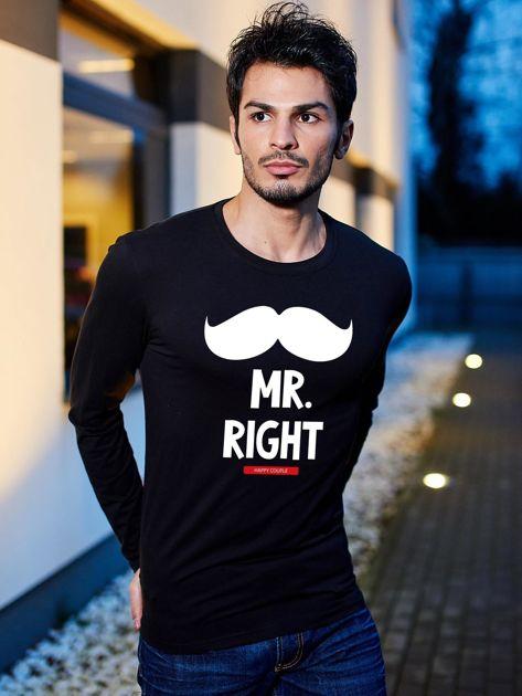 Bluzka męska czarna z wąsami MR. RIGHT dla par                              zdj.                              1