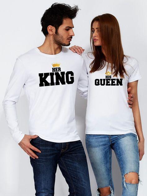 Bluzka męska z długim rękawem HER KING dla par biała                              zdj.                              3