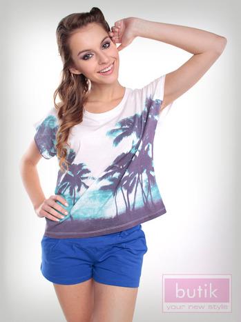 Bluzka oversize z palmami                                  zdj.                                  1