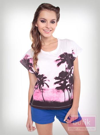 Bluzka oversize z palmami                                  zdj.                                  3