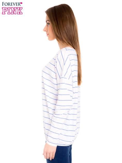 Bluzka w biało-niebieskie paski z gumką u dołu                                  zdj.                                  3