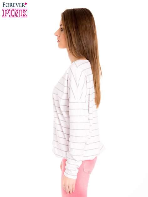 Bluzka w biało-szare paski z gumką u dołu                                  zdj.                                  3