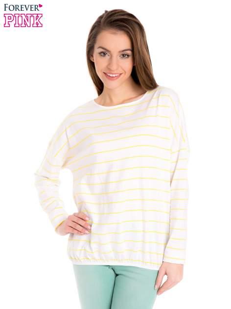 Bluzka w biało-żółte paski z gumką u dołu                                  zdj.                                  1