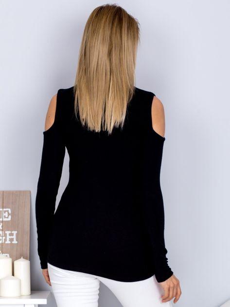 Bluzka z ramionami cut out i łezką czarna                              zdj.                              2