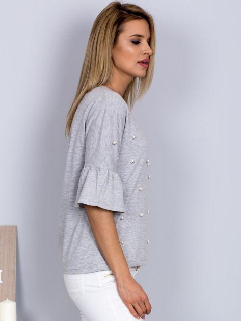Bluzka z rozszerzanymi rękawami i perełkami jasnoszara                              zdj.                              3