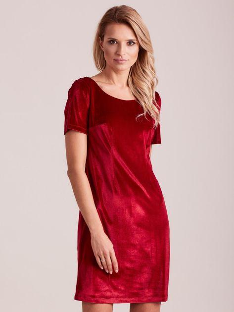Bordowa aksamitna sukienka PLUS SIZE                              zdj.                              1