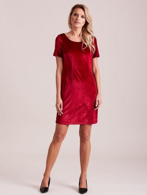 Bordowa aksamitna sukienka                              zdj.                              3
