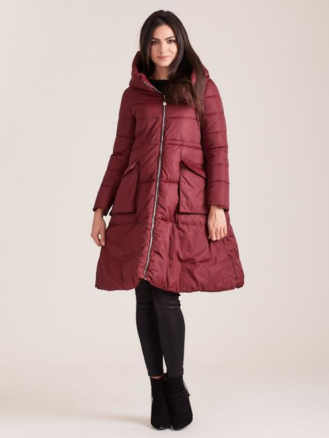 Bordowa asymetryczna kurtka zimowa                              zdj.                              4