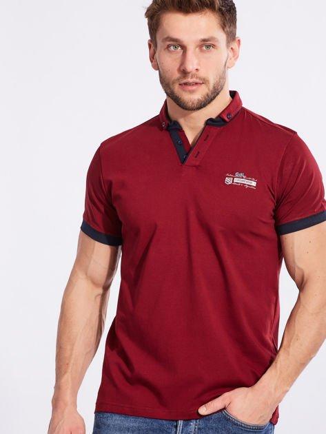 Bordowa bawełniana męska koszulka polo                              zdj.                              1