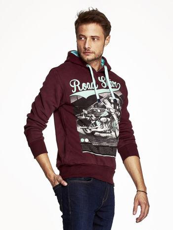 Bordowa bluza męska z nadrukiem i napisem ROAD STAR                                  zdj.                                  3