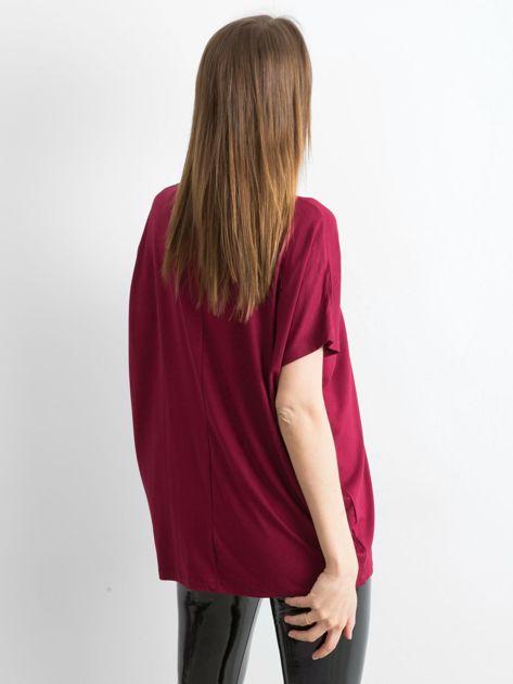 Bordowa bluzka Oversize                              zdj.                              2