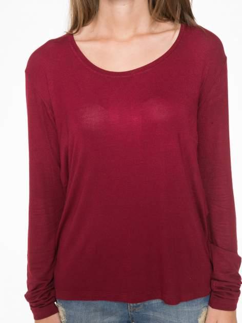 Bordowa bluzka z wycięciami na plecach                                  zdj.                                  7