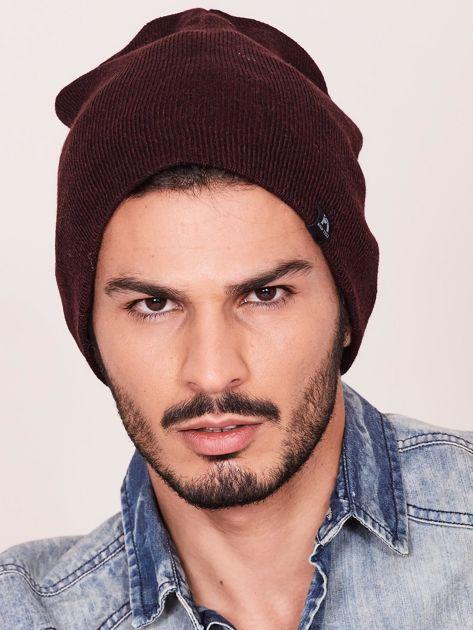 Bordowa czapka męska beanie                               zdj.                              1