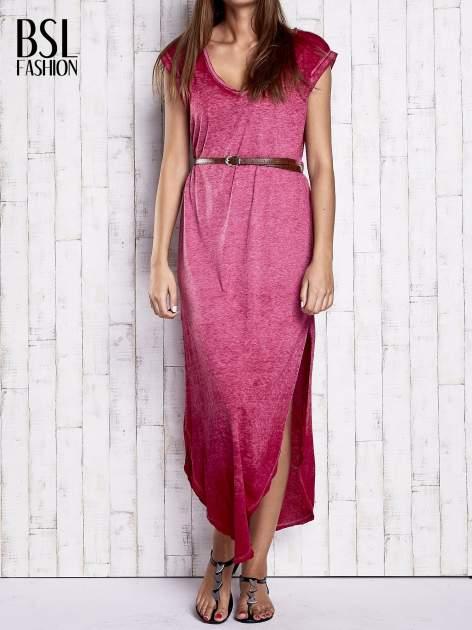 Bordowa dekatyzowana sukienka maxi                                  zdj.                                  1