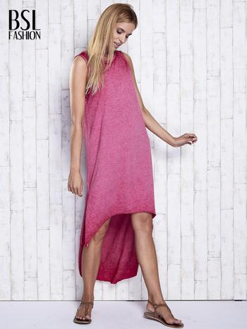 Bordowa dekatyzowana sukienka maxi z dłuższym tyłem                                  zdj.                                  2