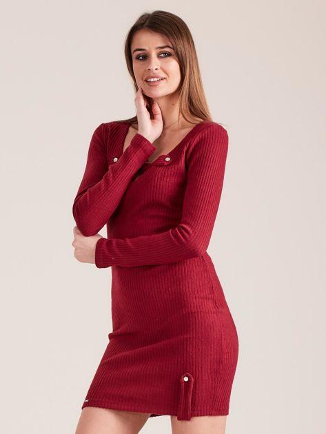 Bordowa dopasowana sukienka z głębokim dekoltem V                               zdj.                              3