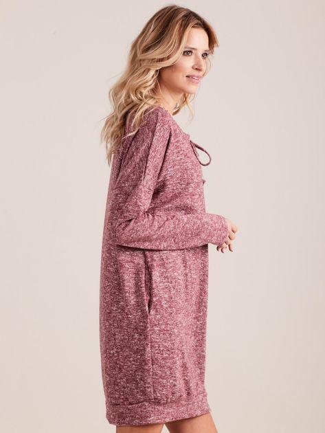 Bordowa dzianinowa sukienka melanżowa oversize                              zdj.                              3