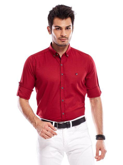 Bordowa koszula męska regular fit z podwijanymi rękawami                               zdj.                              7