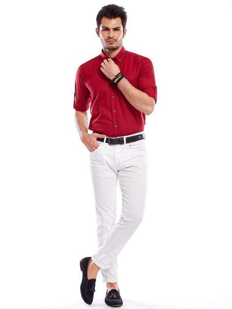 Bordowa koszula męska regular fit z podwijanymi rękawami                               zdj.                              5