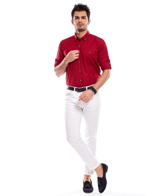 Bordowa koszula męska regular fit z podwijanymi rękawami                               zdj.                              11