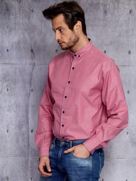 Bordowa koszula męska w delikatny wzór PLUS SIZE                              zdj.                              2