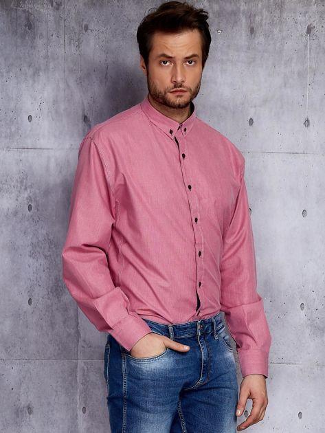Bordowa koszula męska w delikatny wzór PLUS SIZE                              zdj.                              3