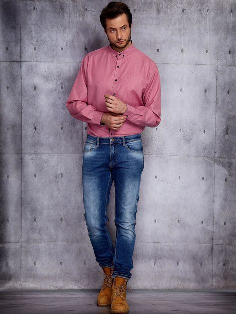 Bordowa koszula męska w delikatny wzór PLUS SIZE                              zdj.                              4