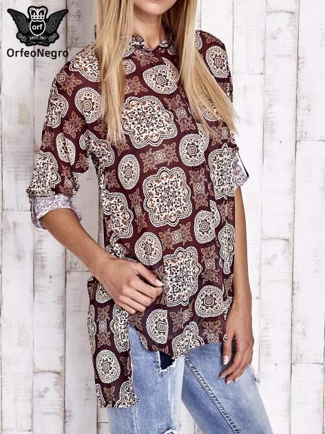 Bordowa koszula w ornamenty kwiatowe                                  zdj.                                  3