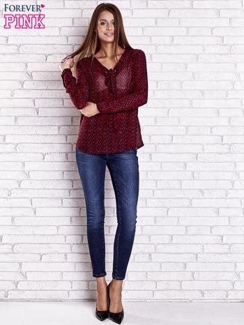 Bordowa koszulowa bluzka mgiełka z wiązanym dekoltem                                  zdj.                                  2