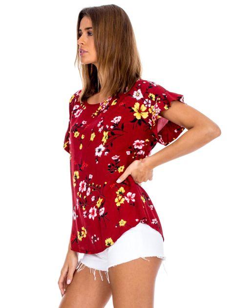 Bordowa kwiatowa bluzka z falbanami na rękawach                              zdj.                              3